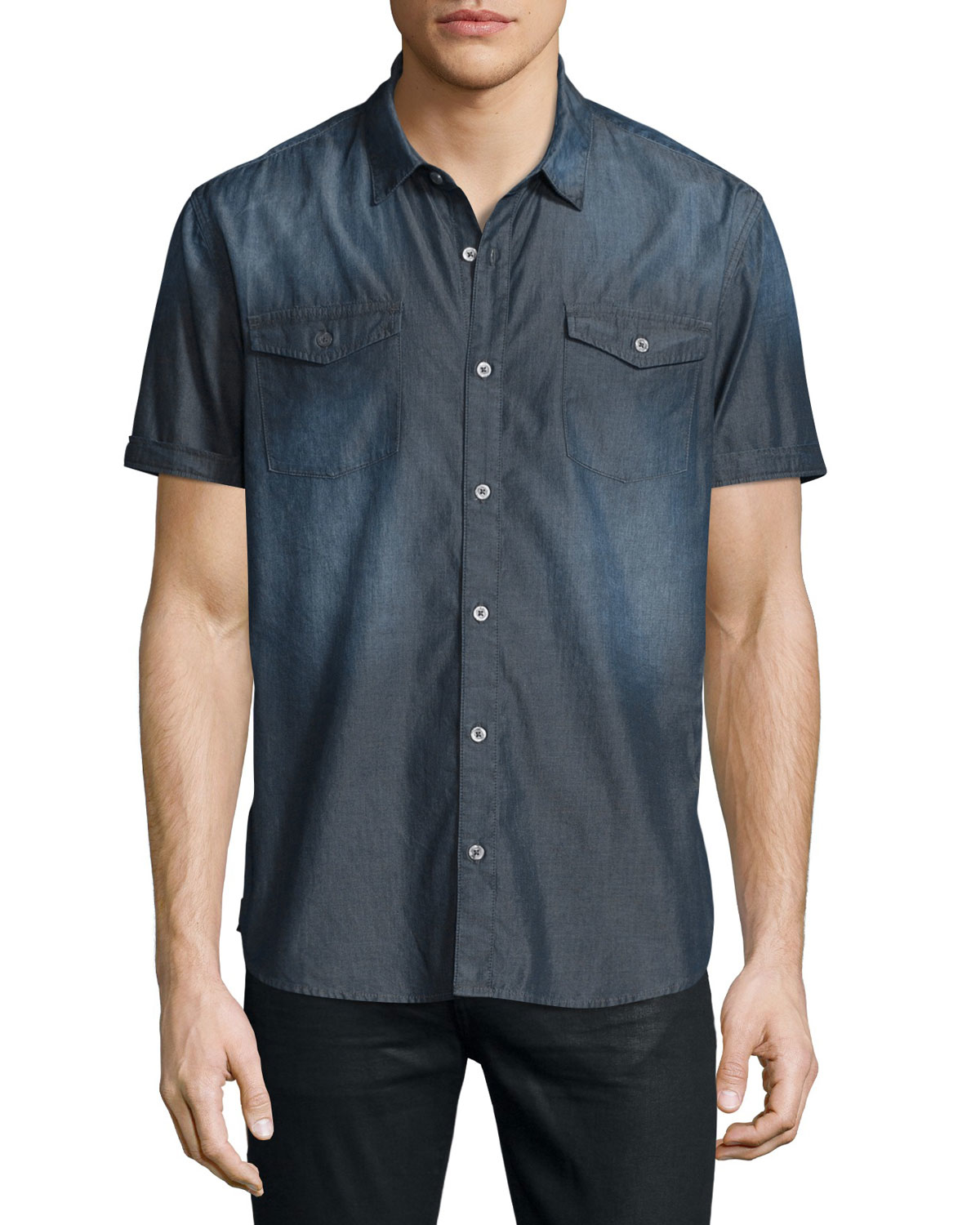 Lyst john varvatos faded short sleeve chambray shirt in for Chambray 7 s