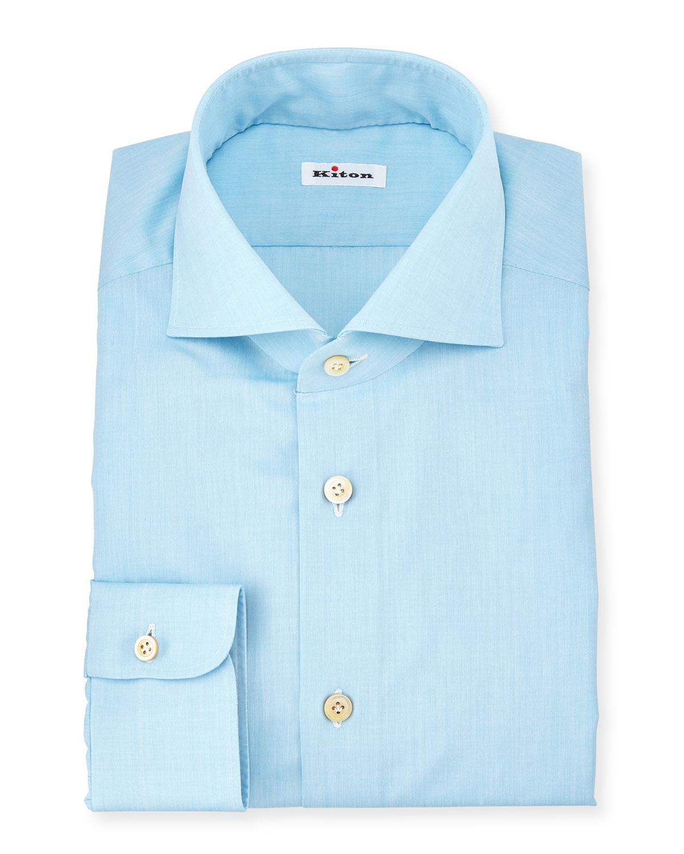 Kiton basic solid poplin dress shirt in blue for men aqua for Aqua blue mens dress shirt