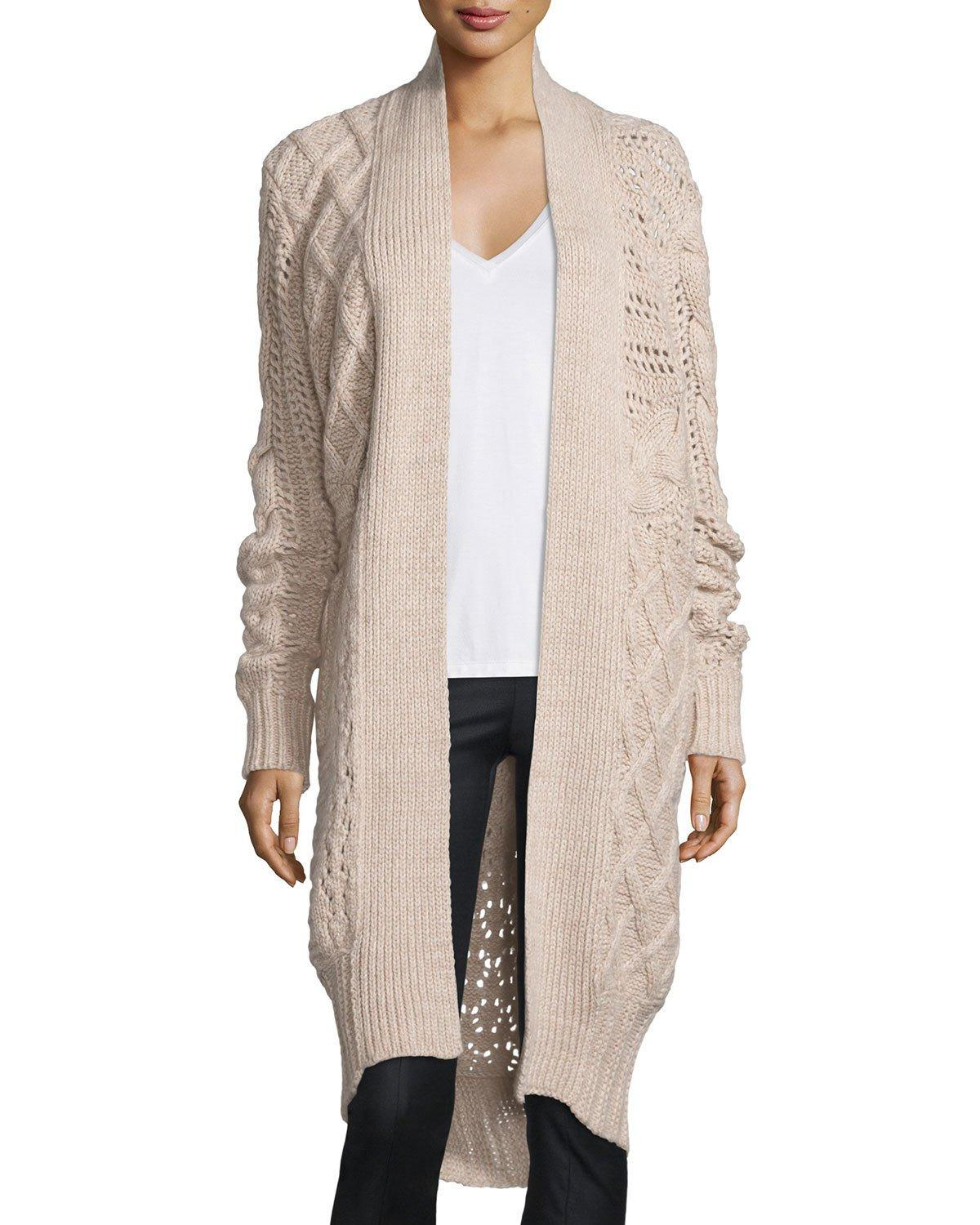 Prabal gurung Belted Cable-knit Cashmere Long Cardigan in Natural ...