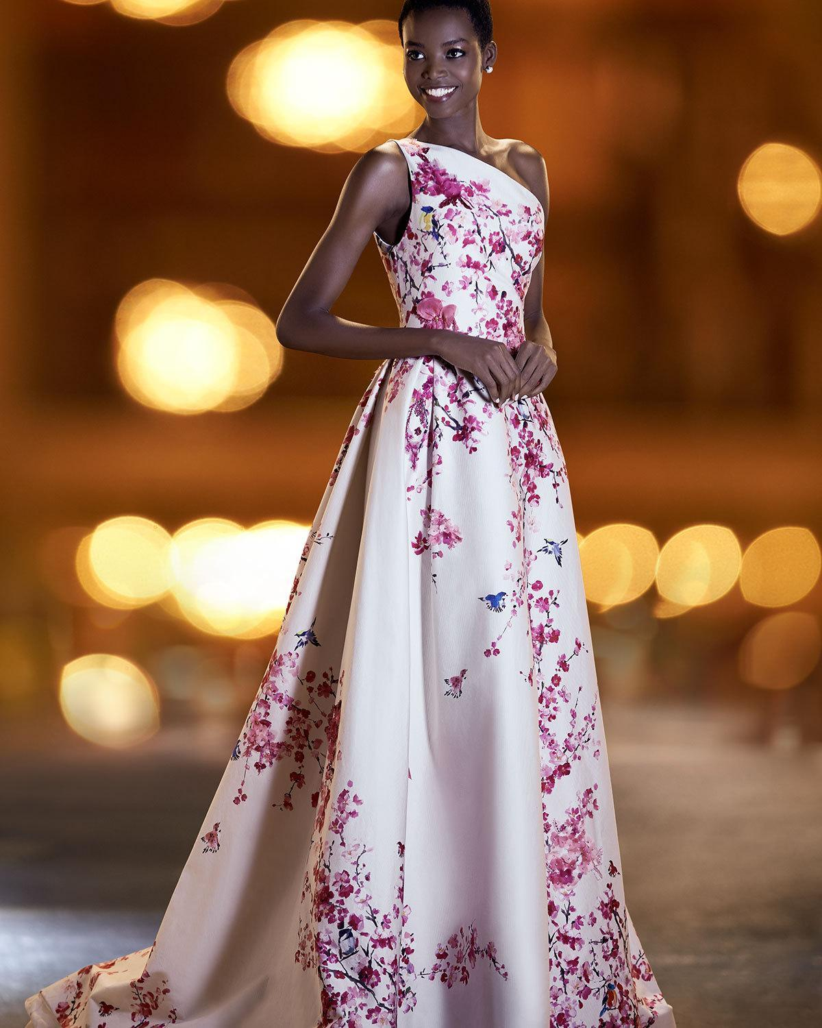 Lyst - Monique Lhuillier Cherry Blossom One-shoulder Ball Gown in Pink