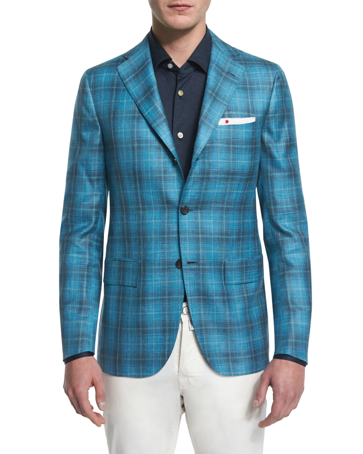 Kiton Plaid Two-button Cashmere Jacket in Blue for Men