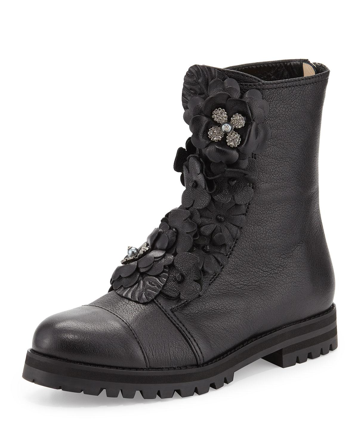 Jimmy Choo Havana Floral Embellished Combat Boot In Black