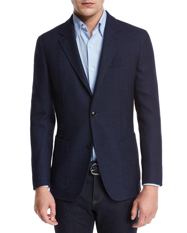 Ermenegildo Zegna Textured Check Wool Silk Sport Coat In