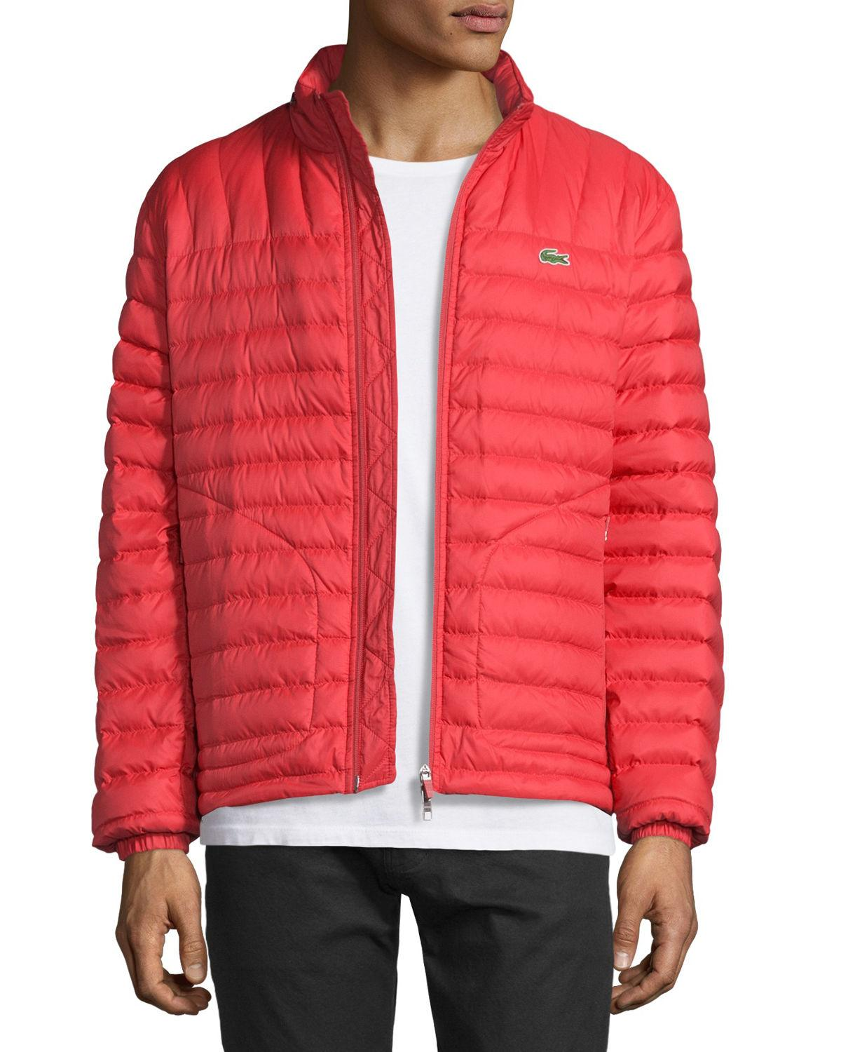 e4193195005ff Lyst - Lacoste Lightweight Quilted Down Jacket in Red for Men
