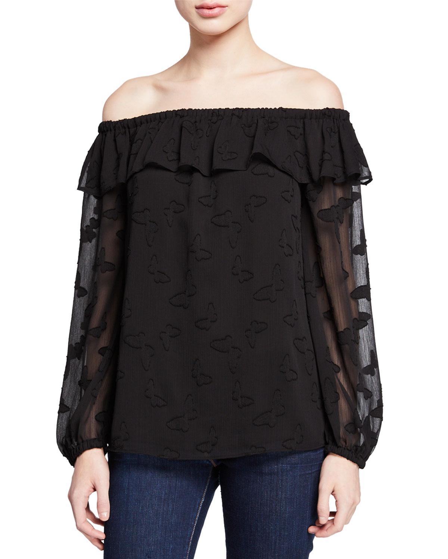 bdb099df0d0114 MICHAEL Michael Kors. Women's Black Butterfly Off-the-shoulder Long-sleeve  Flounce Top