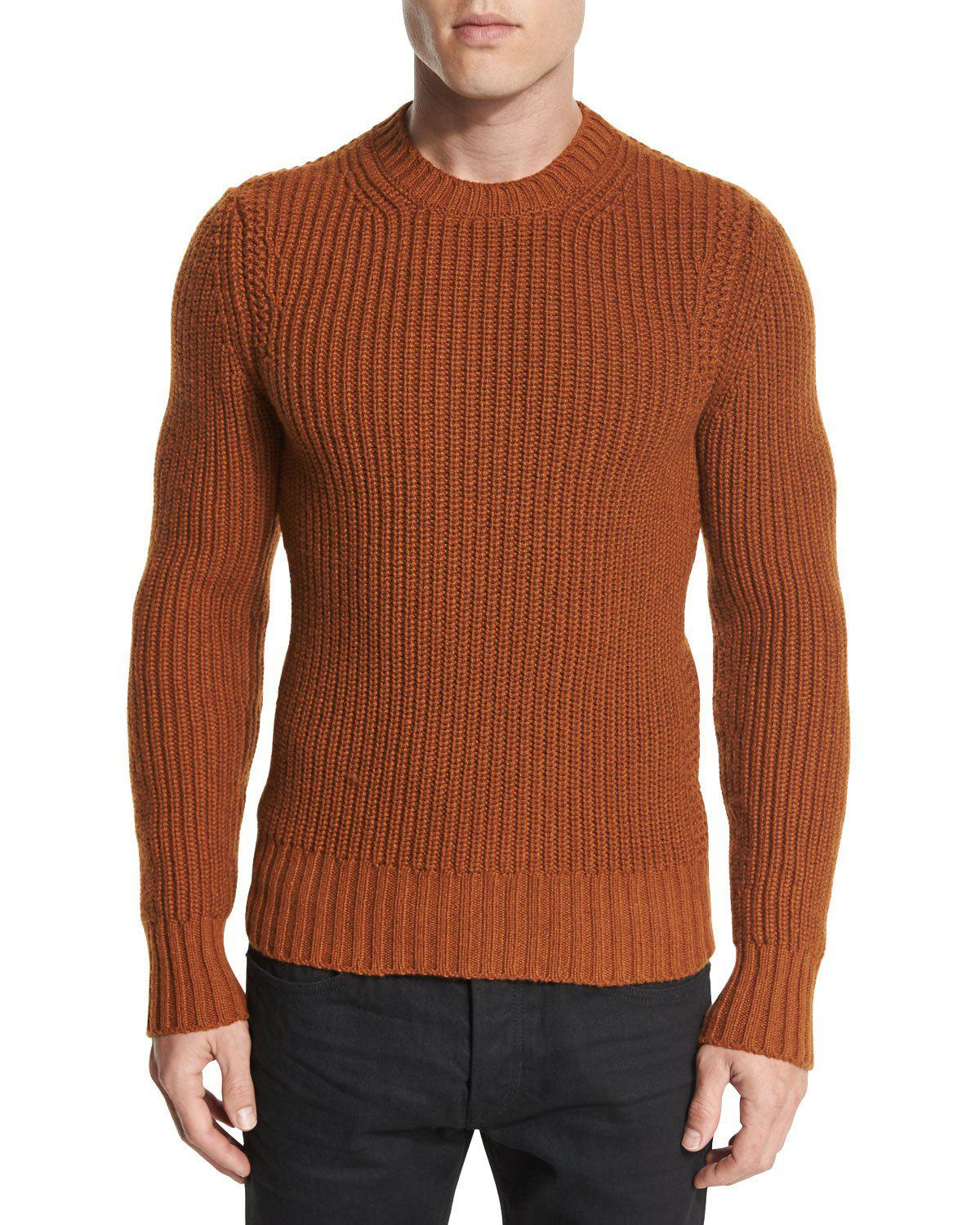 Tom ford Fisherman Ribbed Crewneck Sweater in Brown for Men | Lyst