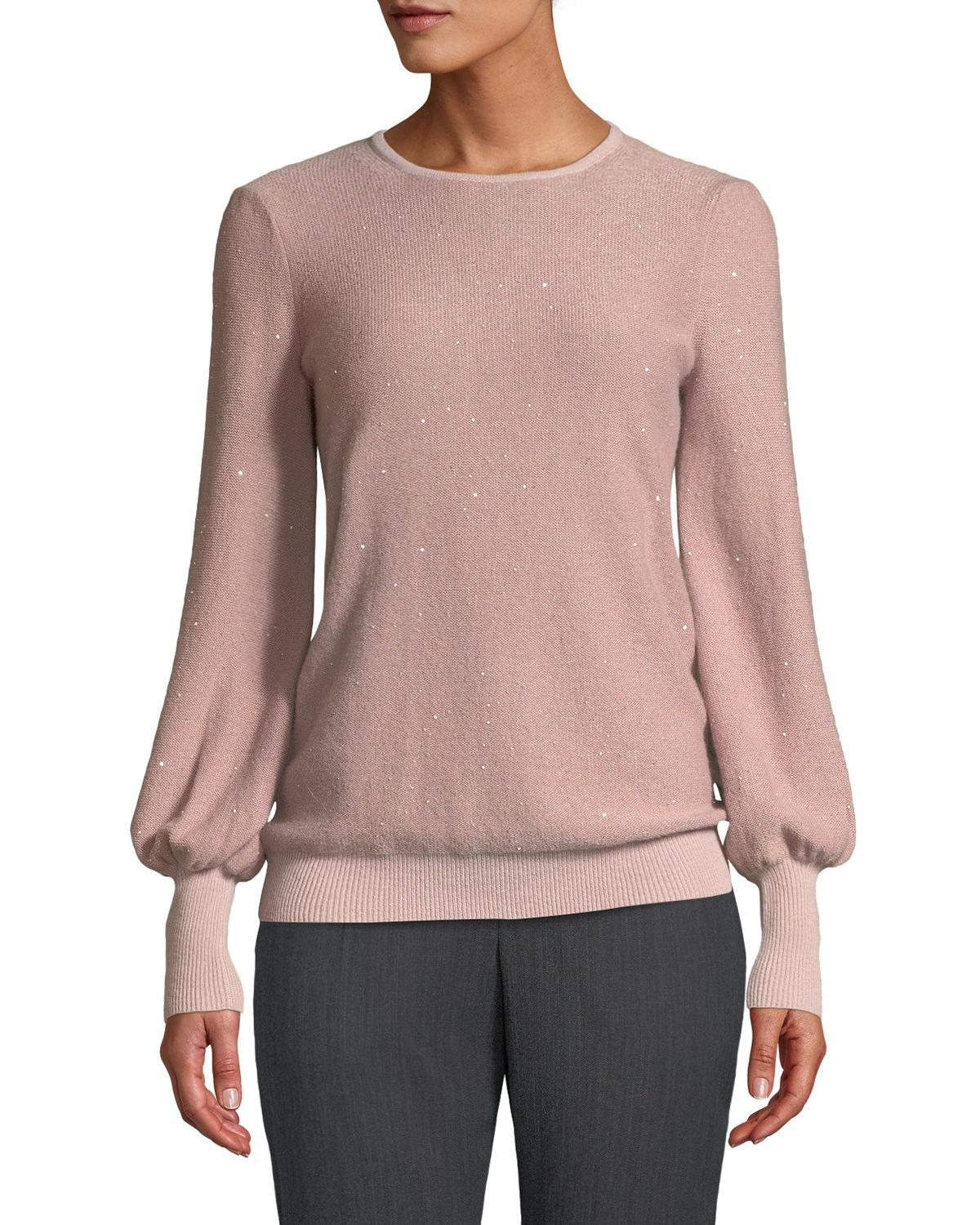 3ecbddcd280d Lyst - Neiman Marcus Cashmere Sequined Balloon-sleeve Sweater in Pink