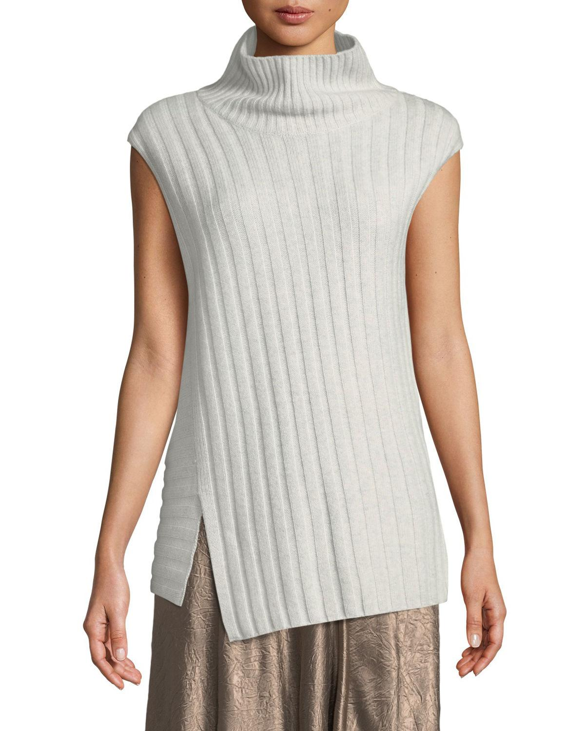 6321f28d9b309 Lyst - Vince Mixed-rib Wool-cashmere Turtleneck Sweater in Gray ...