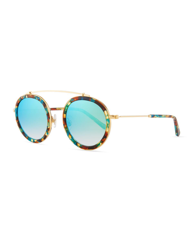 2eed50319c3 Krewe. Women s Blue Conti Mirrored Aviator Sunglasses.  275 From Neiman  Marcus