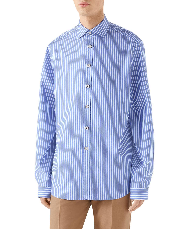 e2724096ec9 Lyst - Gucci Men s Striped Poplin Shirt in Blue for Men