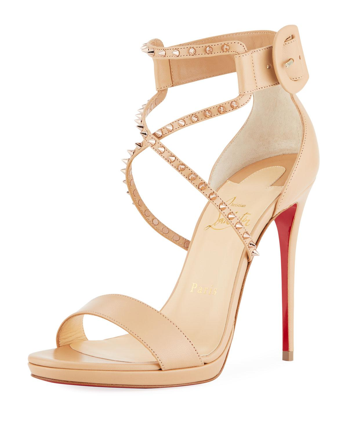 2af5f8ddbfe Christian Louboutin Choca Lux High Red Sole Sandal in Natural - Lyst