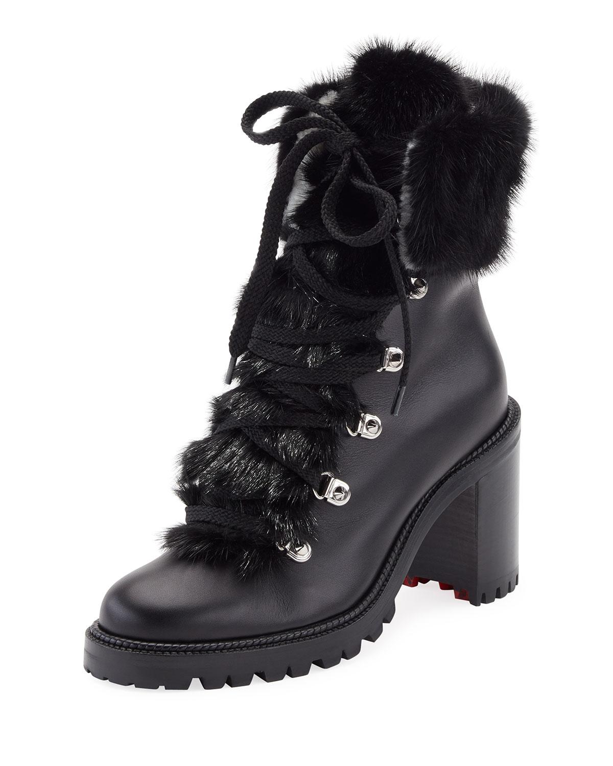 Christian LouboutinFanny 70 Fur-Trimmed Leather Lace-Up Booties JCFWG