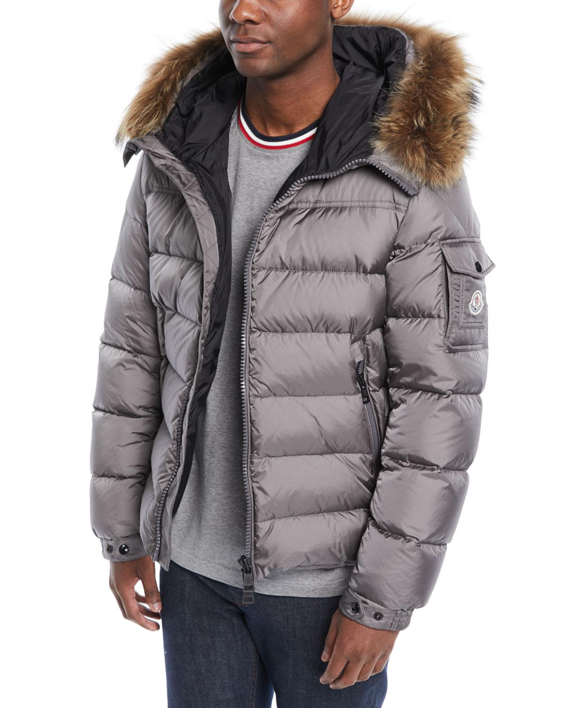 7198c2bb14ab Moncler Men s Marque Fur-trim Puffer Jacket in Gray for Men - Lyst