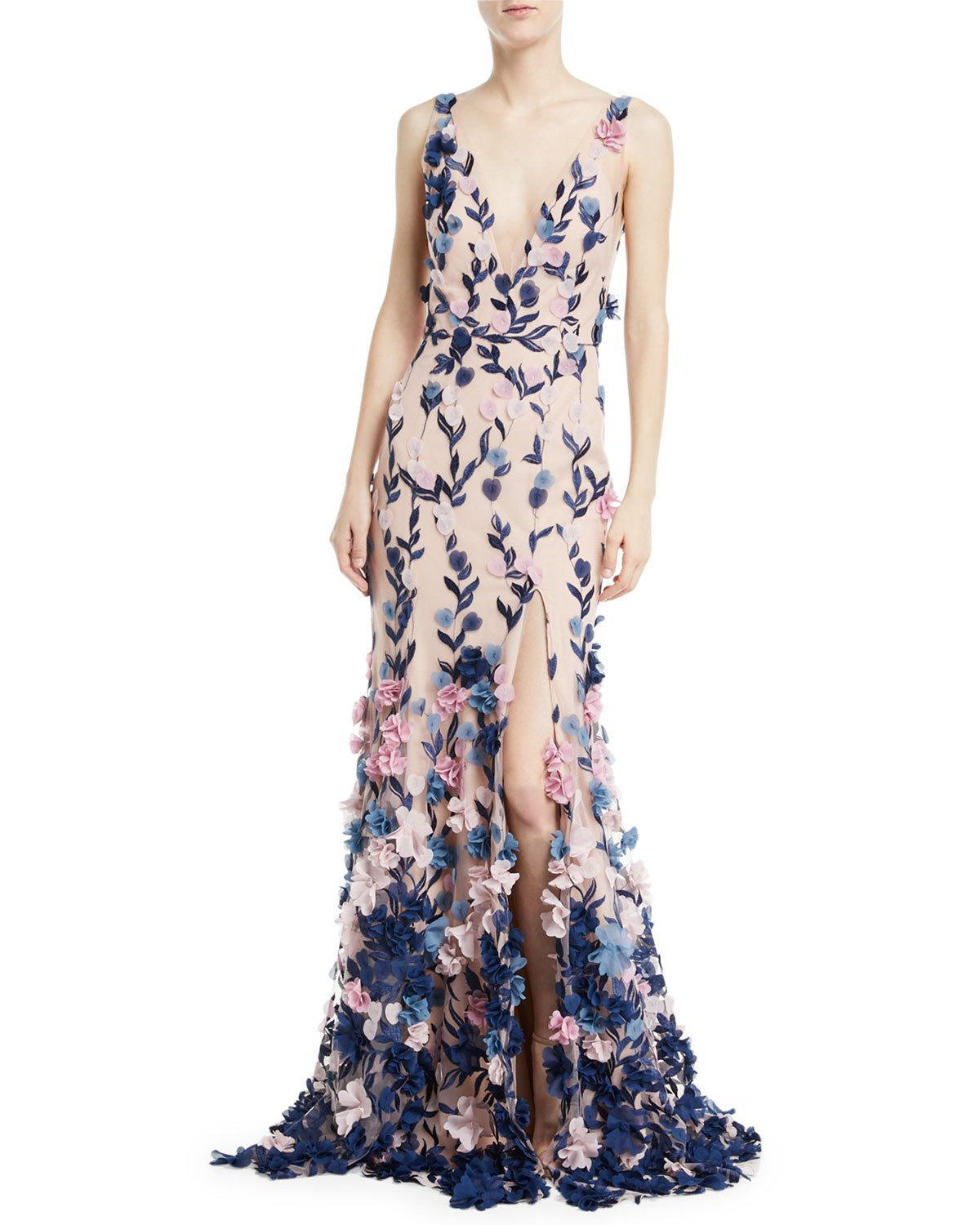 751607b0fd5 Marchesa notte Embroidered 3d Chiffon Flower Trumpet Gown in Pink - Lyst
