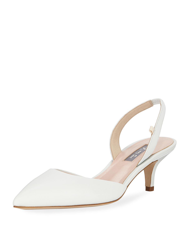 b1bee102965 SJP by Sarah Jessica Parker. Women s White Bliss Metallic Kitten-heel  Slingback Pumps