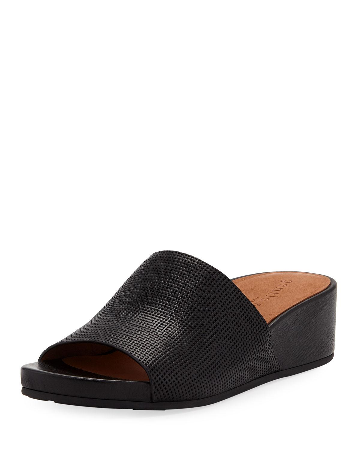 Gentle Souls Gisele Perforated Leather Demi-wedge