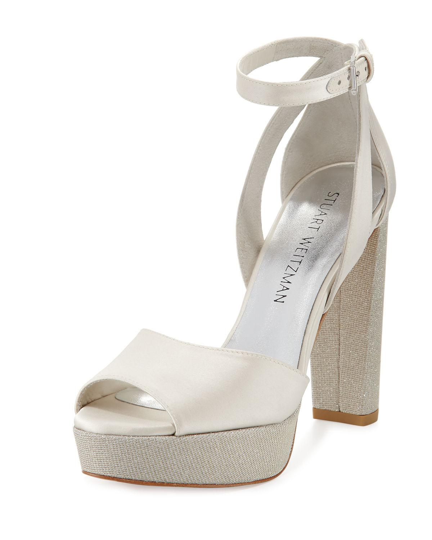 e2a43cca1e8 Lyst - Stuart Weitzman Hijinx Satin Platform Sandal in White