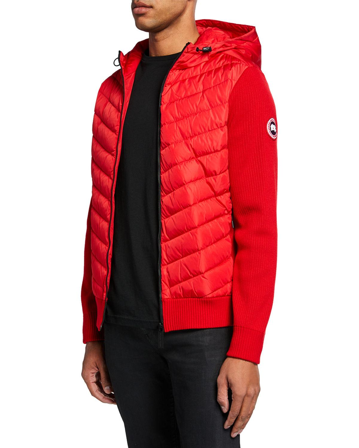 15afa367cc6b Canada Goose - Red Men s Hybridge Knit-sleeve Puffer Jacket for Men - Lyst