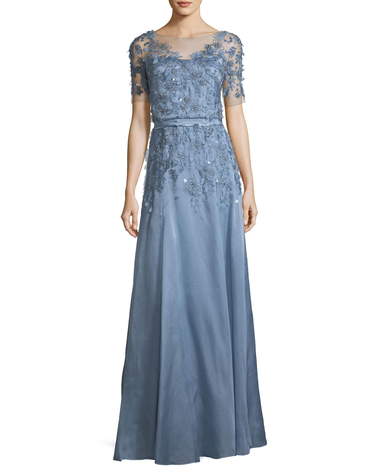 Lyst - Jenny Packham Short-sleeve 3-d Floral Embroidered Evening ...