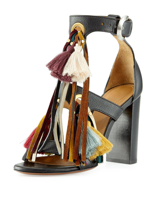 Chloé. Women's Black Miki Tassel Sandals