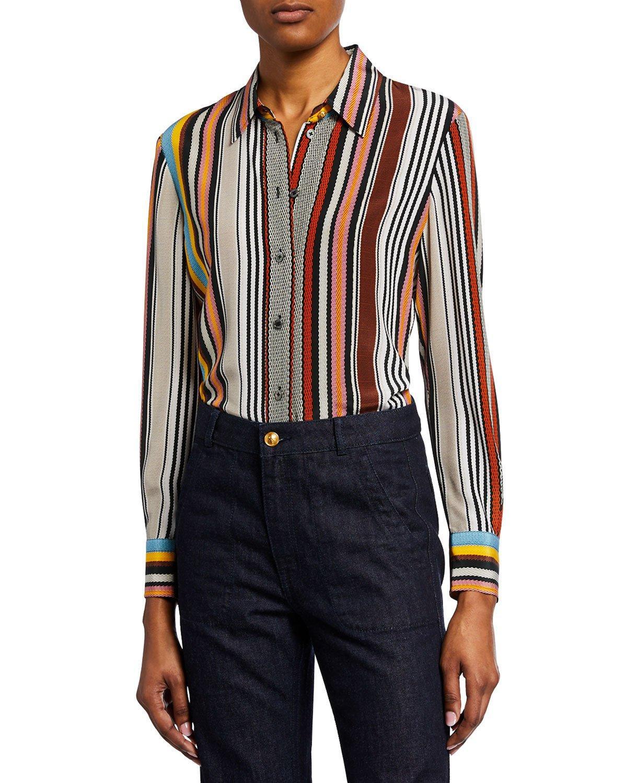 34f21c497a9 Tory Burch. Women s Striped Button-down Long-sleeve Silk Shirt