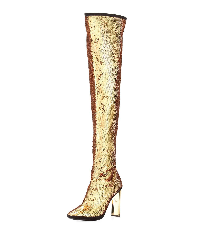 4e703d91051 Giuseppe Zanotti Stretch Sequin Over-the-knee Boot in Metallic - Lyst