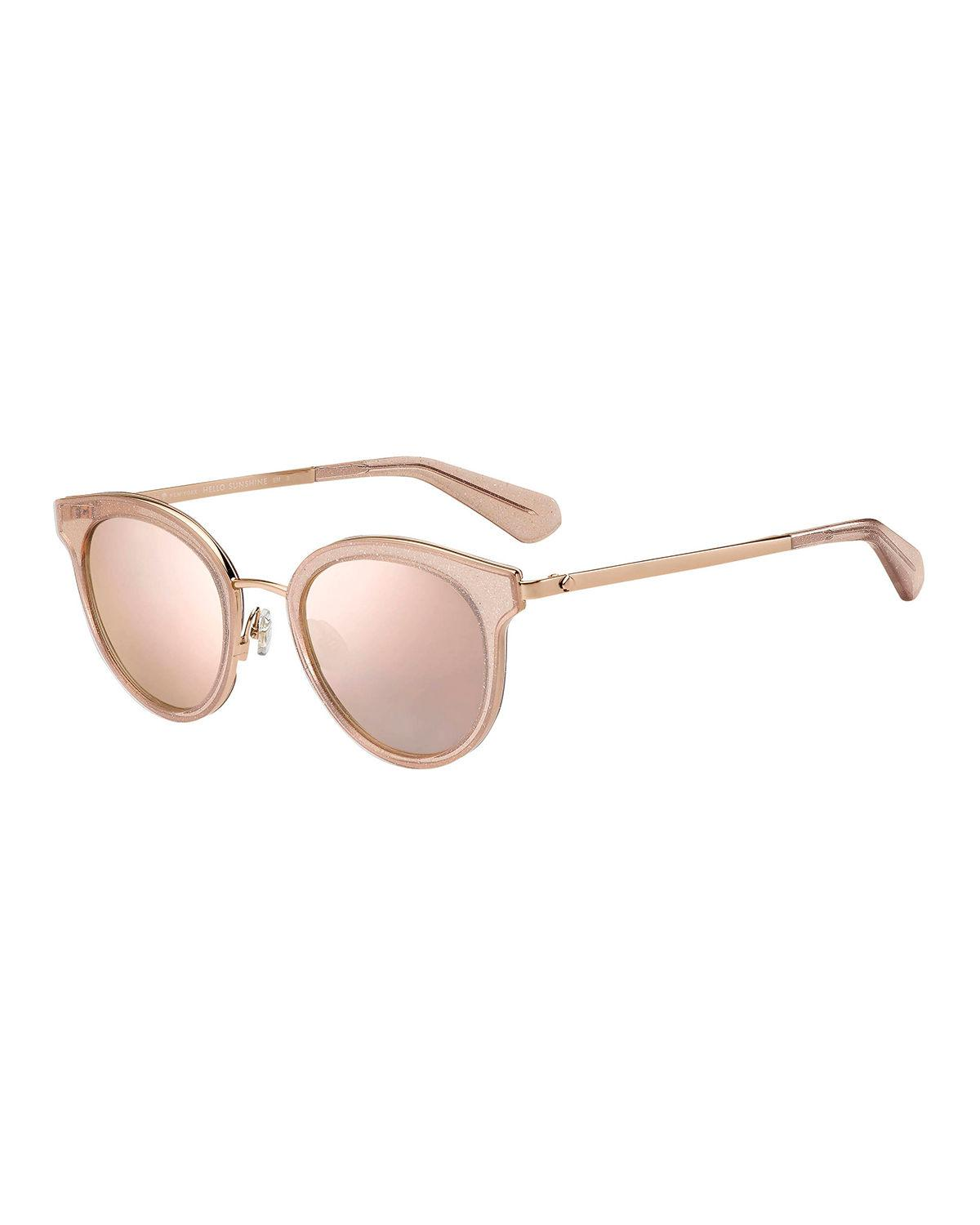 7d6aa23bff Lyst - Kate Spade Lisannefs Round Mirrored Sunglasses in Pink