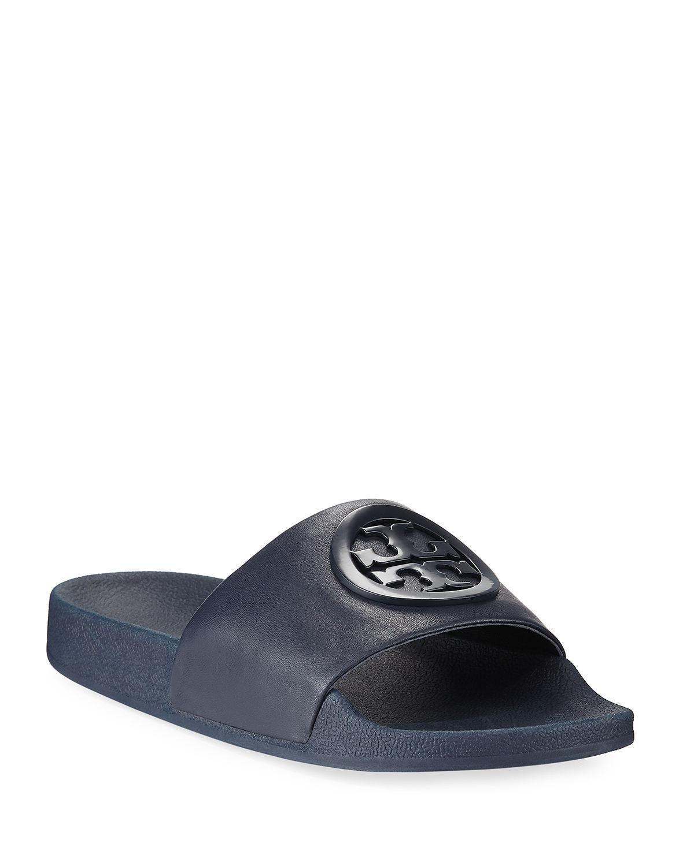 b1883ec5fc19 Lyst - Tory Burch Lina Leather Flat Pool Slide Sandals in Blue