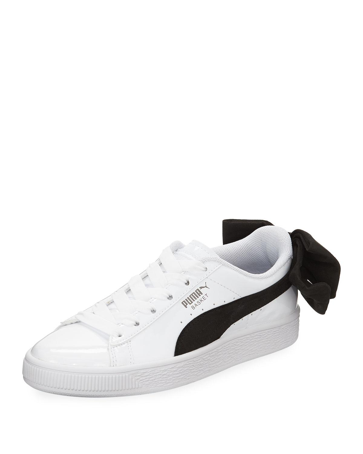 Lyst - Puma Basket Bow Two-tone Leather Sneakers in White f8f5204be