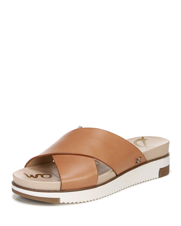 06a541dad927 Lyst - Sam Edelman Audrea Leather Platform Slide Sandals Brown in Brown