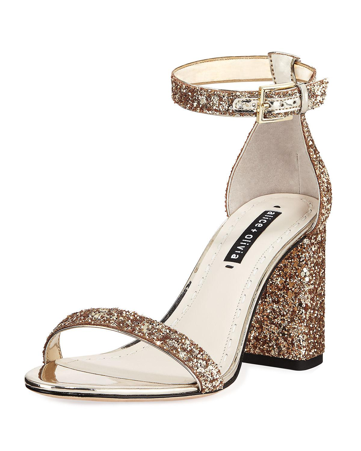 13f0f7586ba Lyst - Alice + Olivia Lillian Glitter Block-heel Sandals in Metallic