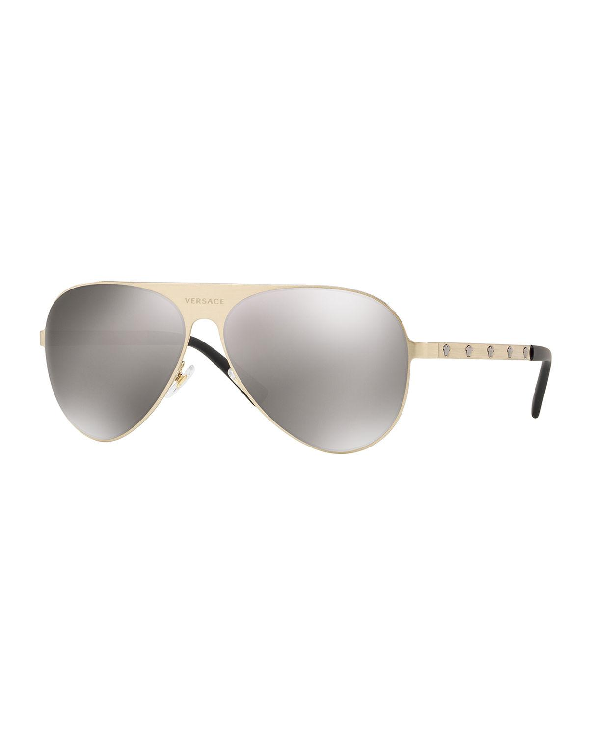d56dd166e4 Lyst - Versace Monochromatic Aviator Sunglasses in Gray