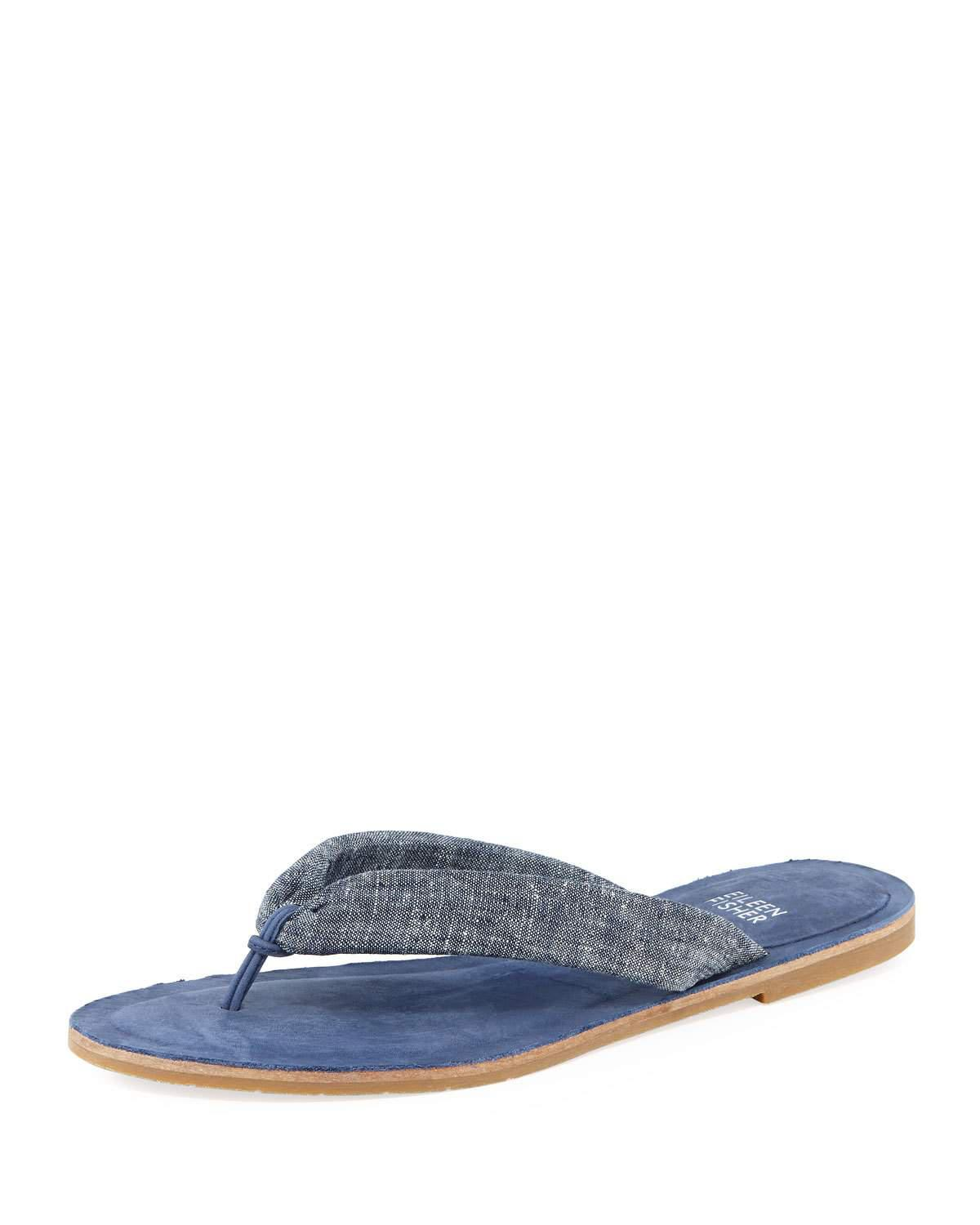 0a1c9ba8bf0 Lyst - Eileen Fisher Flue Flat Chambray Thong Sandal in Blue