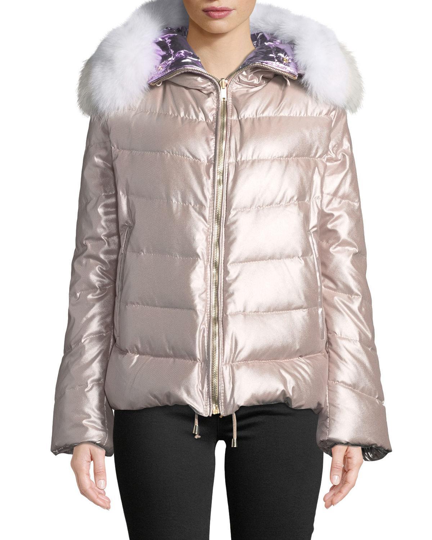 0bb3a301ec599 Lyst - Gorski Reversible Fox-fur Hood Quilted Puffer Apres-ski ...