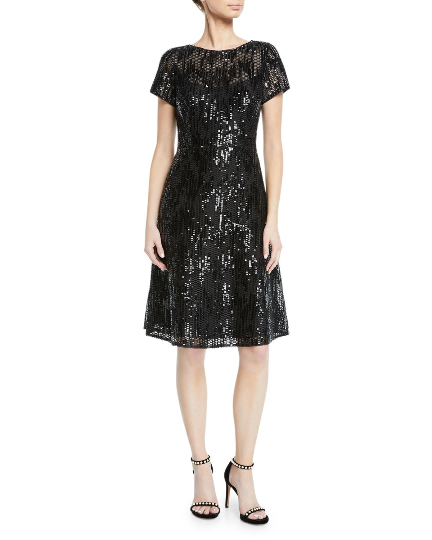 674765d745c03 Lyst - Aidan Mattox Sequin Mesh Fit- -flare Cocktail Dress in Black