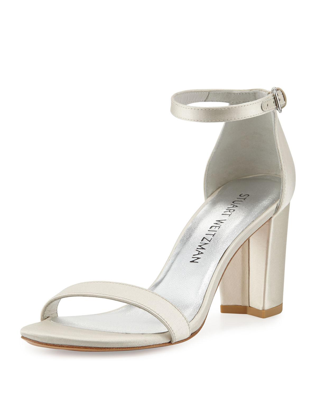 7de0dcacc05 Lyst - Stuart Weitzman Nearlynude Satin City Sandal in White