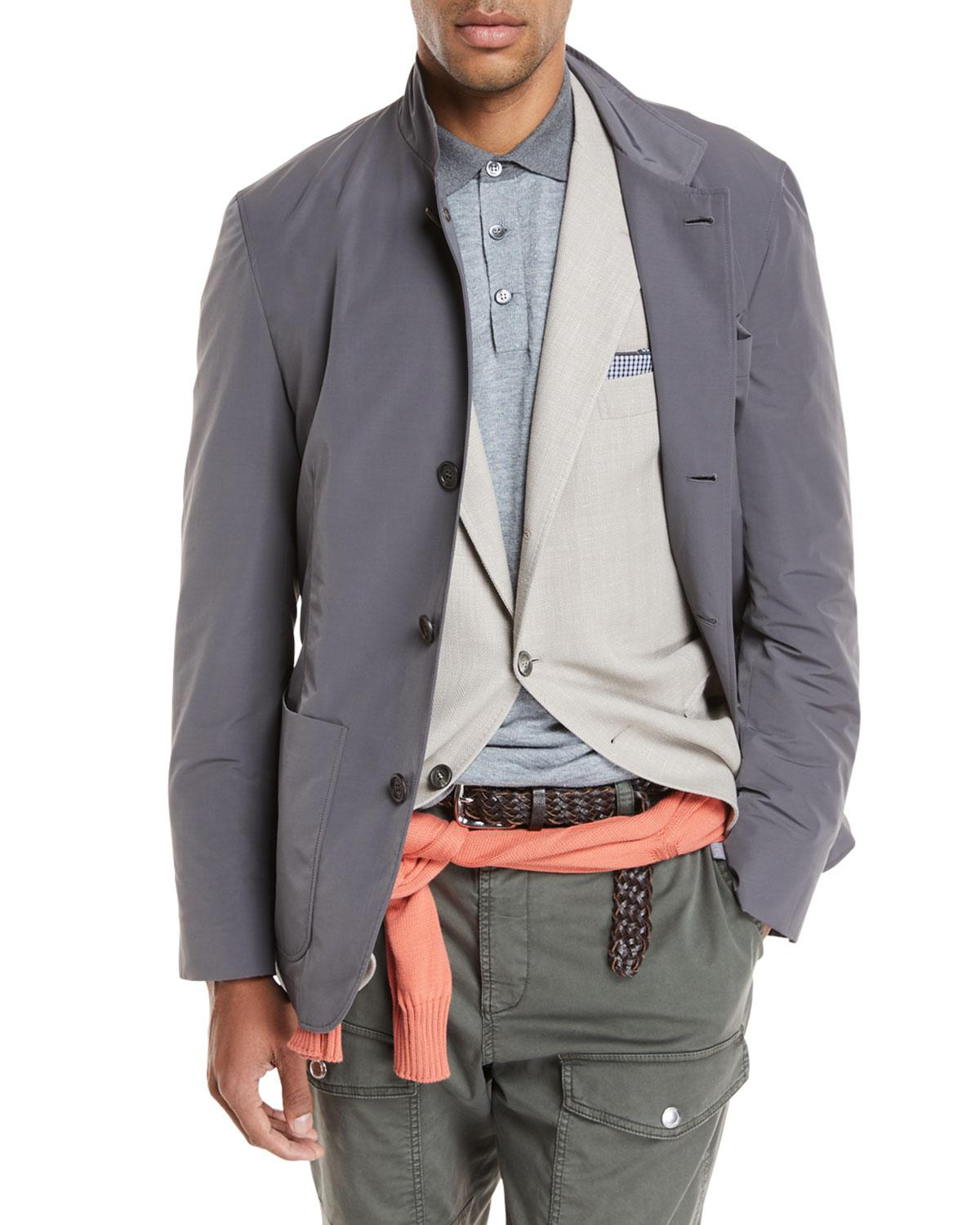 Clearance Online Fake Brunello Cucinelli Button-Front Safari Jacket Clearance View Cheap Great Deals UcUtOna