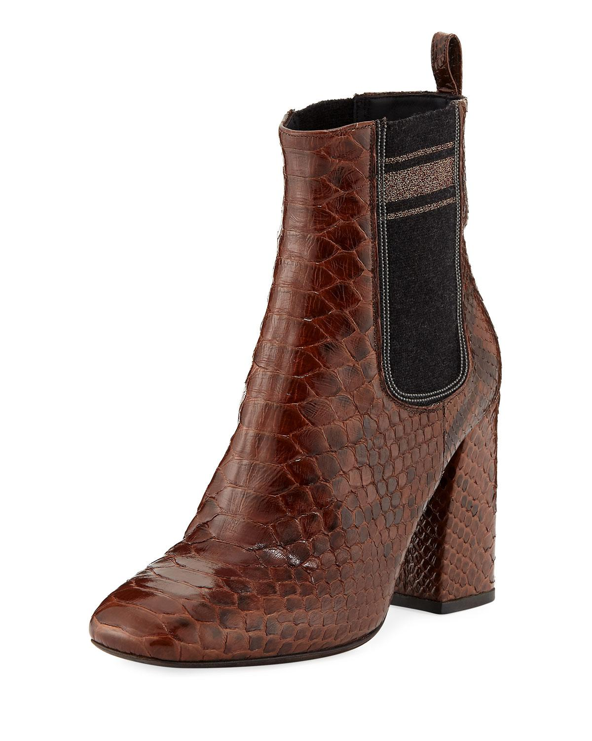 a9bb85d0795 Lyst - Brunello Cucinelli 100mm Python Chelsea Booties in Brown ...