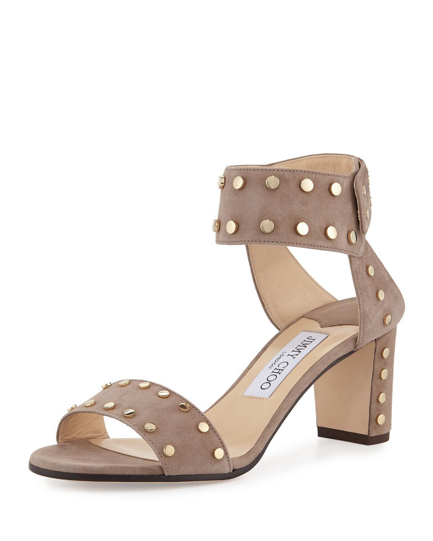 Jimmy Choo Veto 100 Suede Studded Block-Heel Sandal (Women's) f4ZP9Xnw