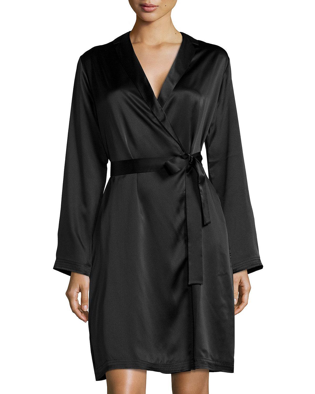 Lyst - La Perla Silk Long-sleeve Short Robe in Black 3c25b6013
