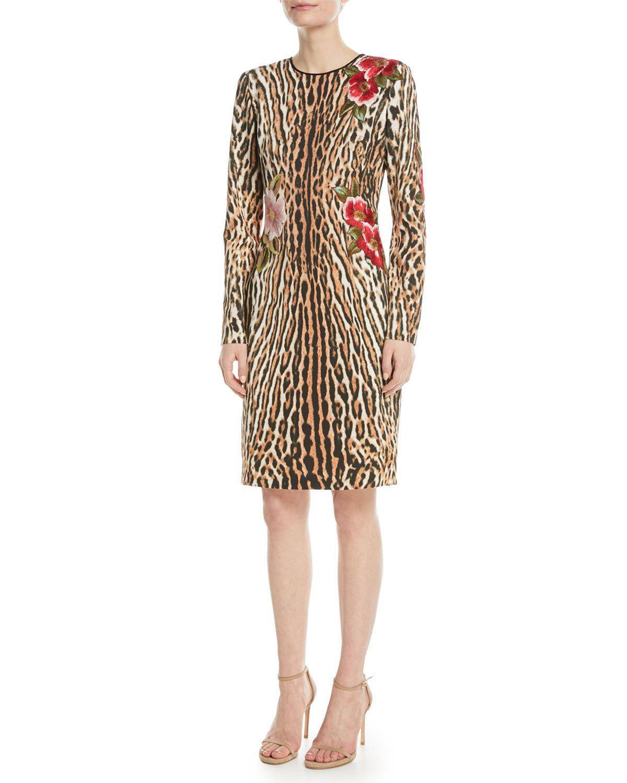 c871b678466 NK32 Naeem Khan - Multicolor Leopard Sheath Dress W  Floral Appliqué - Lyst