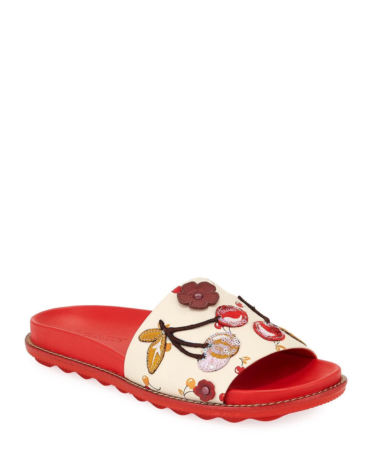 the cheapest wholesale price cheap price Coach Embellished Slide Sandals BEQpE