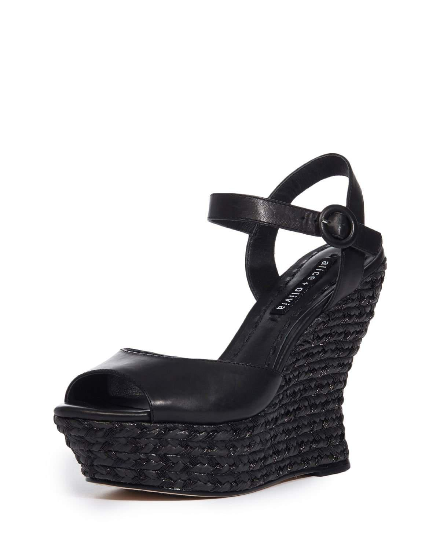 30e11304eed7 Alice + Olivia Jana Wedge Platform Sandal in Black - Lyst