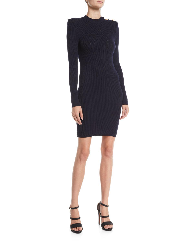 4f7703e1 Balmain. Women's Blue Button-shoulder Long-sleeve Ribbed Body-con Short  Cocktail Dress