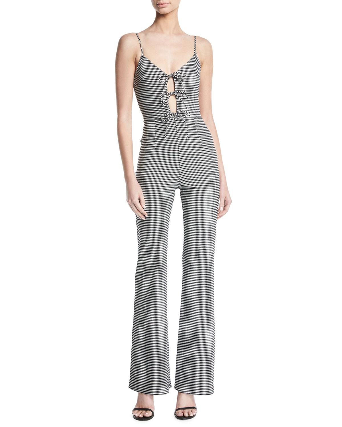 36f941e730 Lyst - Lovers + Friends Nell Tie-front Gingham Jumpsuit in Black