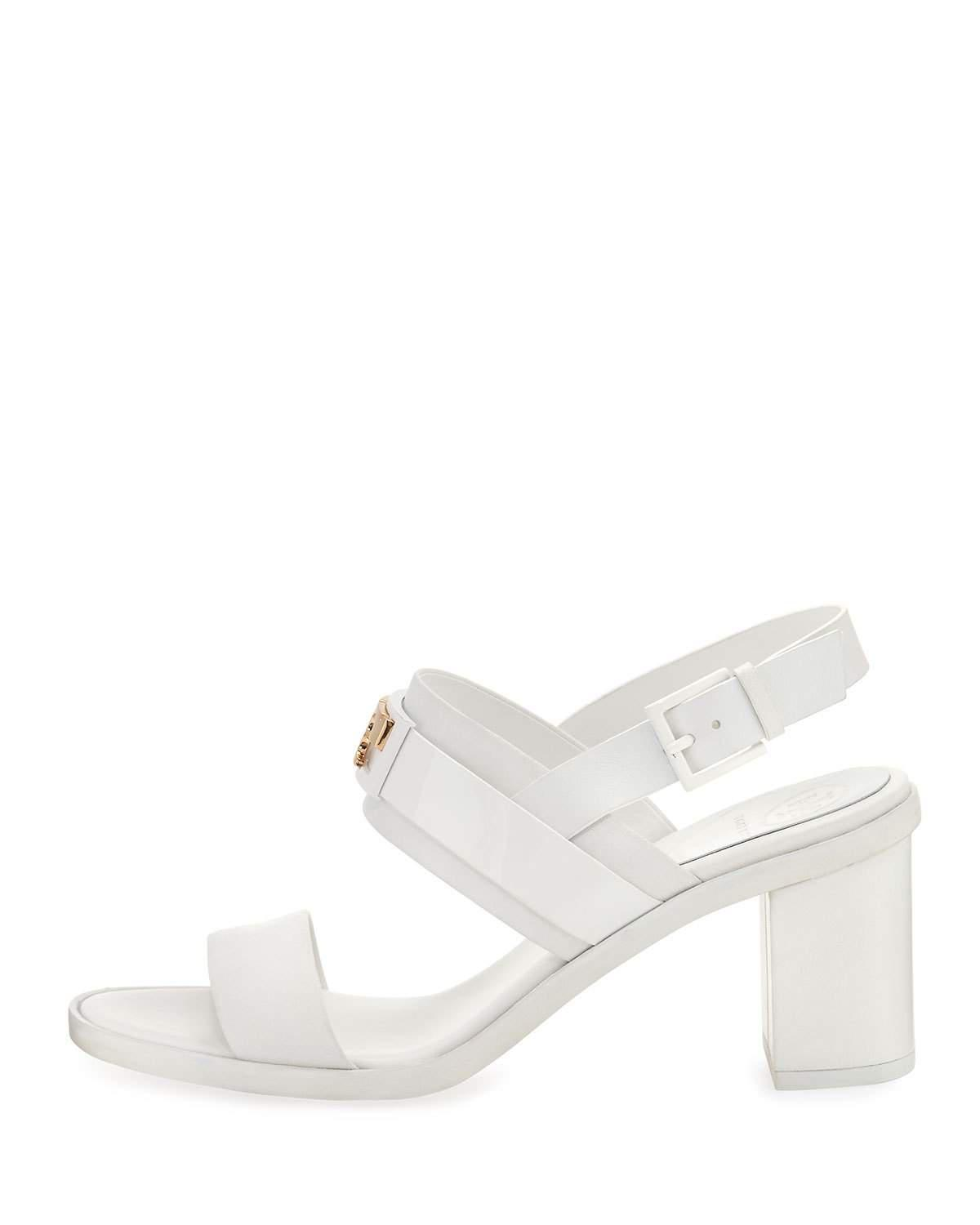 48b4e38bbb44f5 Lyst - Tory Burch Gigi Leather Two-band Sandal in White