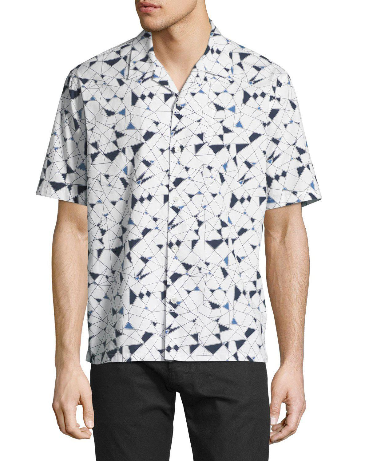 Mens Irving Geometric-Print Cotton Shirt Theory Outlet Wholesale Price Cheap Sale Eastbay Sale Fast Delivery Cpab2YY9