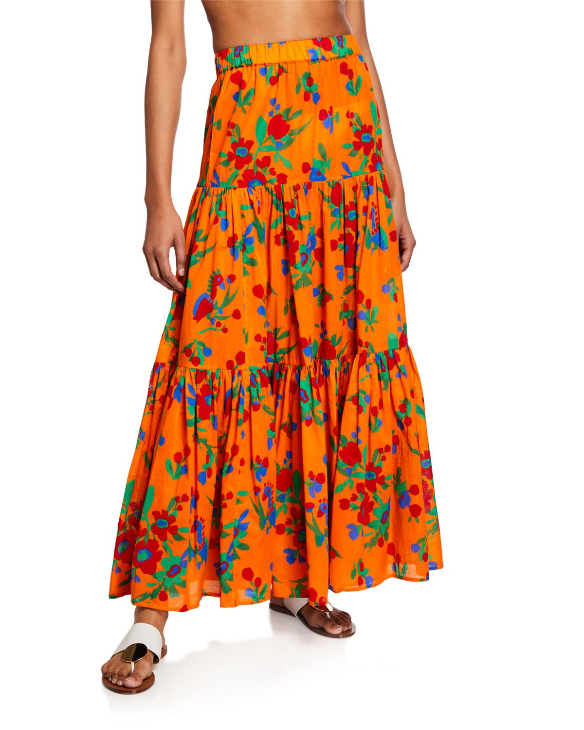 cbb8184fdc Lyst - Tory Burch Floral-print Tiered Coverup Maxi Dress in Orange