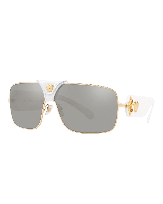 b60dc24ab7c7 Versace. Women s Medusa Leather-wrap Square Sunglasses