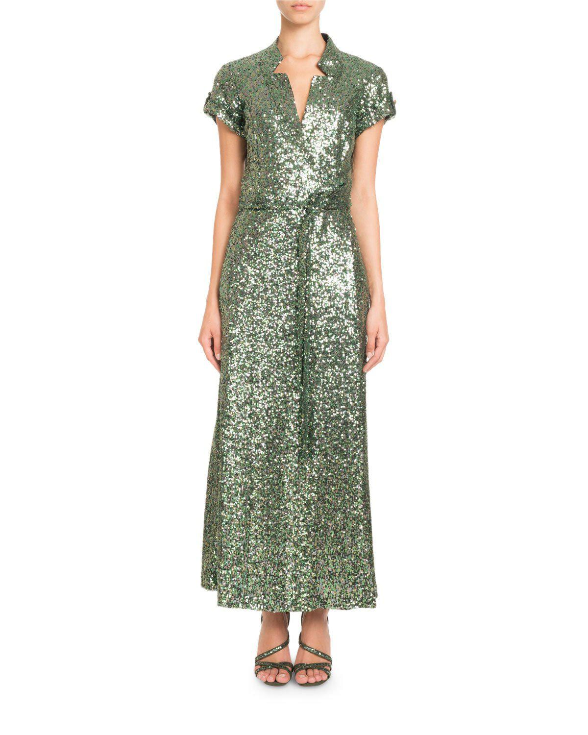 Lyst - Pascal Millet Short-sleeve Notched-collar Sequin Wrap Evening ...